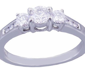 14k White Gold Round Cut Diamond Engagement Ring Prong Set, Anniversary, Wedding, Half Eternity, Three stone Style, Natural 0.51ctw