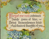 Forget-me-Nots Remembrance Verse Antique Postcard 1911 Friendship Greeting Postcard (an experienced age-weary card)