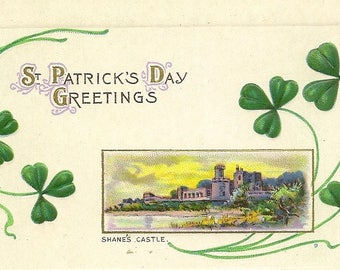 Embossed Antique St Patrick's Day Postcard Shane's Castle – Unused Stecher Litho Series 43D