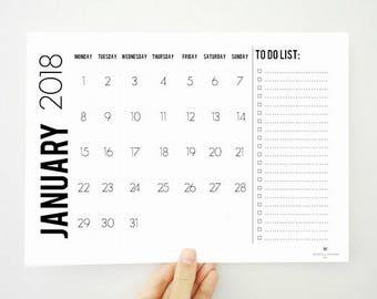 To Do List Printable Calendar, 2018 Calendar, Monthly Calendar, Task List, 2018 Planner, Notepad, Desk Calendar, Academic Planner, PDF