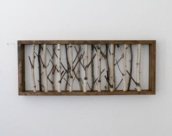 white birch forest wall art - 30 x 12, birch branch decor, birch log, wall hanging, modern rustic wall decor, framed birch art