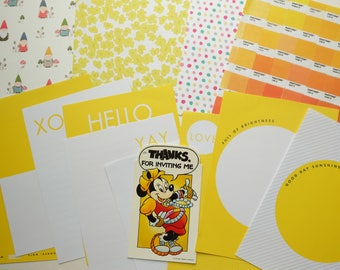 Sunshine Minnie CRAFTY BITS -  crafting kit with papers and embellishments and vintage Minnie Mouse tag