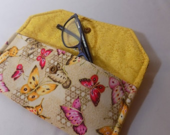 Reading glasses case, fabric eyeglass case, glasses holder, sunglasses case, glasses pouch, butterfly, butterflies lightly padded