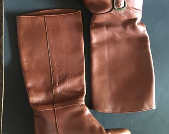 Tall Brown buckle Leather pitate Boots 8m