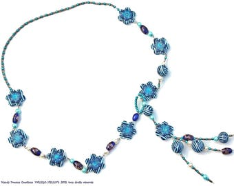 Creative necklace blue flowered, worn in scarf, fimo, pearls