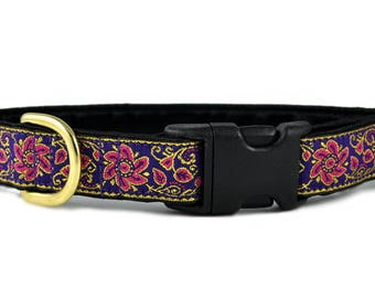 "Ready-to-Ship: Sevilla Jacquard in Purple, Pink & Gold - 1"" Buckle Collar - MEDIUM - Brass Hardware"