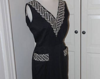 ON SALE 50s Wiggle Dress, Hourglass, Cotton, Black, Embroidered Neckline, Pockets, Size M
