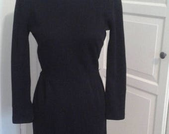 "ON SALE 50s Helen Whiting Dress, Knit, Long Sleeves, Zippered 3/4 Sleeves, Waist Seam, Size Small (24-26"" Waist)"