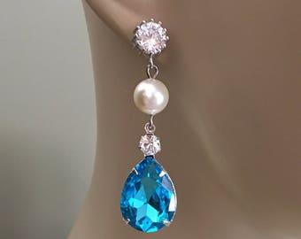 Topaz Blue Earrings Aqua with Swarovski Pearls and CZ Rhinestone Sterling silver post Tiffany Blue Bridesmaid earrings