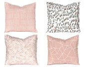 Blush Pillow Covers - Throw Pillow Covers - Decorative Pillow Covers - Blush Pink and Gray - Blush Bedroom Decor - Sofa Pillow Covers