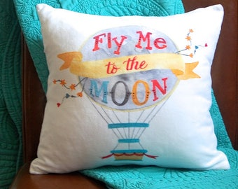 Nursery Pillow - Fly Me to The Moon - Watercolor Nursery Decor - Baby Nursery Pillow - Hot Air Balloon - Decorative Pillow - Kids Bedding