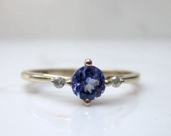Estate Tanzanite with Diamond Accents 10k Yellow Gold Ring, Size 8.5