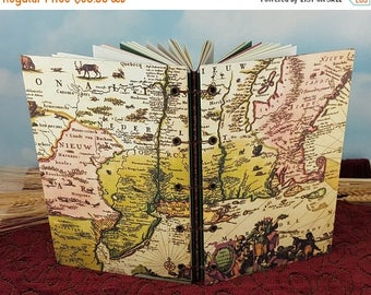 Travel Sale Ancient Map of New England Writing Journal with Coptic Binding and Circa 1700 Map Cover Art
