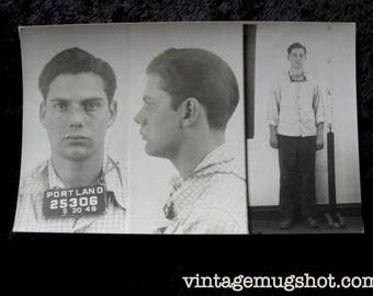 1949  Portland Oregon  Police Department Criminal Mean Looking Teenage Burglar