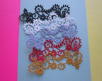 Paper Scrolled Butterfly 5 Accent Pieces From a Die Cut