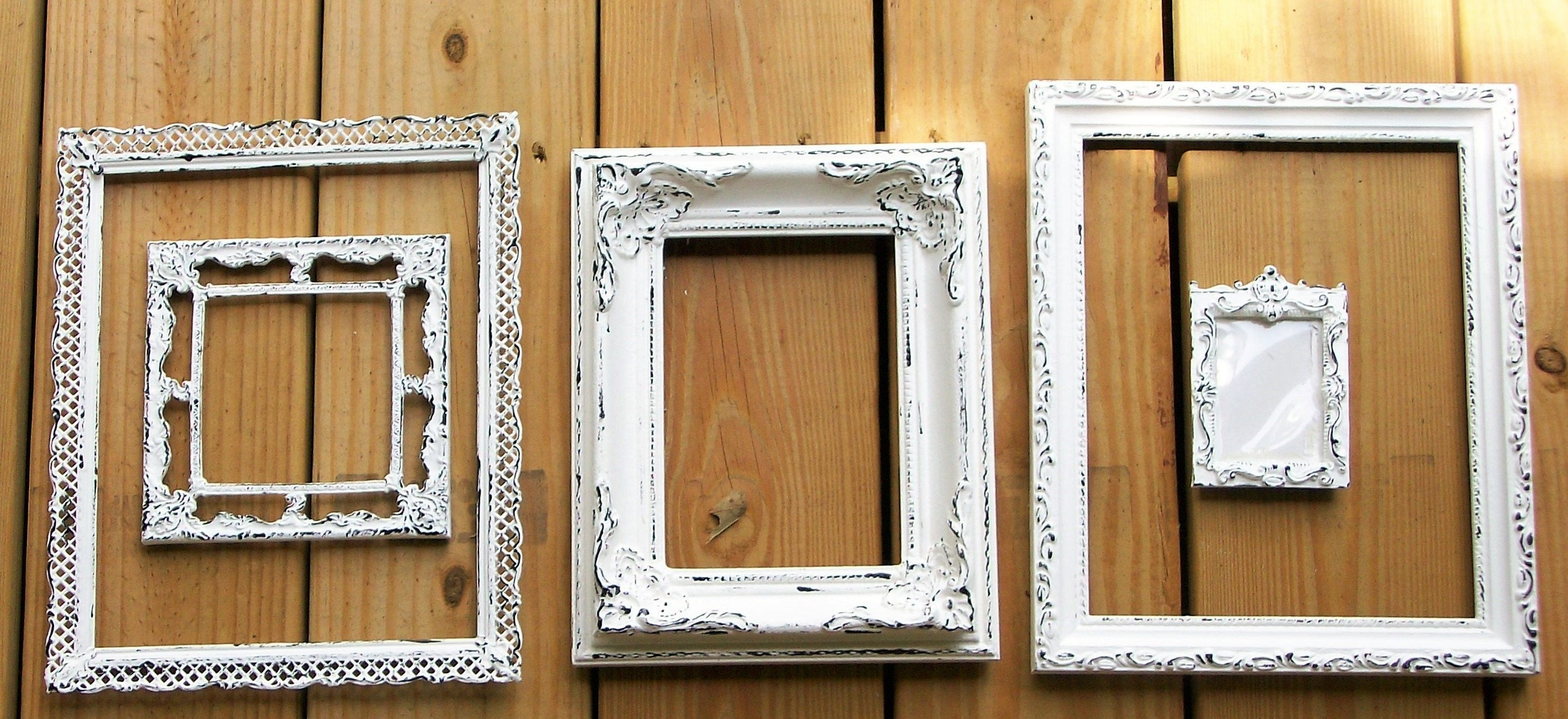 Shabby chic wall decor nursery -  Shabby Chic Chippy White Picture Frames For Gallery Wall Wedding Decor Nursery Decor Frames Sold By Dirtroaddecor