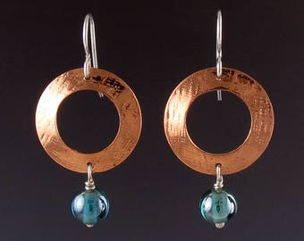 Textured Copper Circular Earrings with Blue Glass Beads