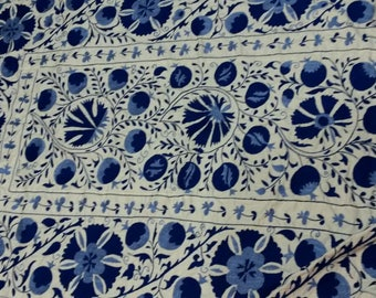 Uzbek hand embroidered suzani Pomegranates and Medallions. Wall hanging, bed cover blue suzani