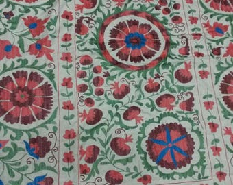 Uzbek hand embroidered suzani Pomegranates and Medallions. Wall hanging, bed cover suzani