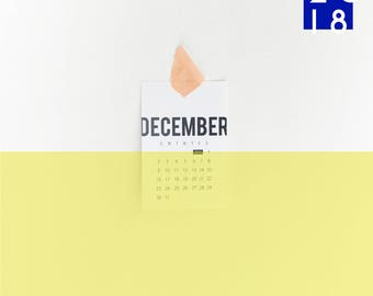 2018 Original Typographic CALENDAR - 4x6 Calendar, 2018 Desk Calendar, 2018 Wall Calendar, Minimal Calendar, Gift Calendar