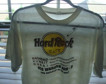 Vintage  Hard Rock Cafe Soft Paper thin USS Wabash AOR-5 Operation Desert Storm T shirt Size L