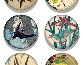 Printable Digital 1.5 Inch Circles Digital  Asian Birds Vintage Japanese Art  Instant Printable Download CS 549