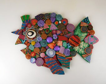 Mosaic Fish Polymer Clay Wall Art or Clock 3D in Rainbow Colors