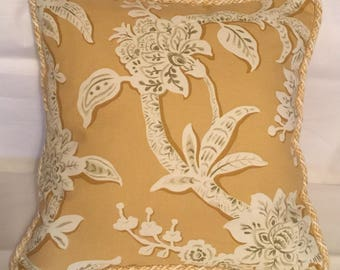 Provence Country French Pillow Yellow Ivory Gold Cottage Country Floral Print