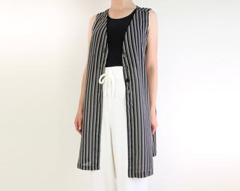 VINTAGE Striped Blouse Sleeveless Tunic Sheer Black