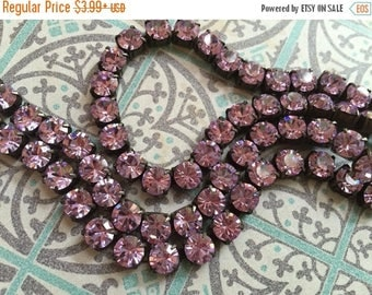 SALE NEW Rhinestone cup chain oxidized Flea Market Style 6.1mm 29ss Large Chunky Dark Brown/black Patina brass VIOLET  crystal  6.1mm 29ss