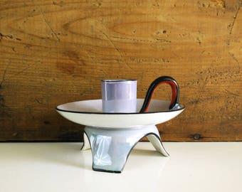 Noritake Blue Lusterware Candleholder / Black & orange trim footed candlestick