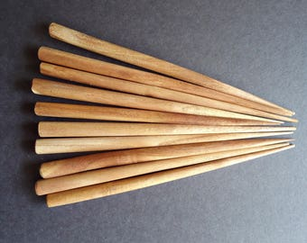 Six Inch Brown Wooden Hair Sticks - End Drilled - Set of 10