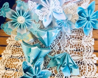 Origami Butterfly Flowers 10 With Six Inch Stems for Centerpieces DIY Bouquets or Craft Projects and Gifts