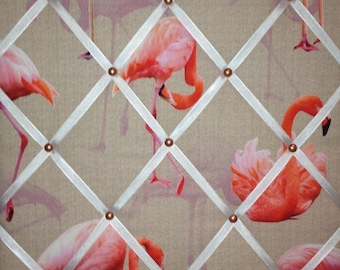 "Pin Board/Notice Board ""Fabulous Flamingos' with Chrome Trim"" Message,Memo,Bulletin Board Large 48x40cm / 18x16"""