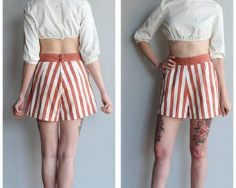 1940s Shorts // Orange & Ivory Striped Cotton Shorts // vintage 40s shorts