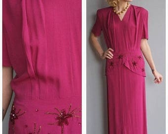 20% Off Sale // 1940s Gown // Wistful Dance Rayon Gown // vintage 40s gown