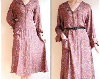 1940s Dressing Gown // Kaleidoscope Cold Rayon Dressing Gown // vintage 40s dress