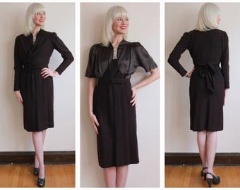 1930s Dress Set // Barnett for Marshall Fields Satin + Wool Crepe Dress & Jacket // vintage 30s dress set