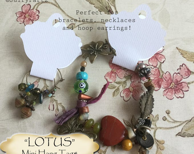 30•4.25L x 2W•LOTUS•Hang Tags•Jewelry Cards•Earring Display•Necklace Tag•Hoop Earring Holder