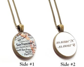 Custom Coordinates Vintage Map Necklace. You Select Any City, State, or Country Worldwide. Coordinates or Personalized Message On The Back.