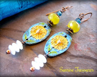 Artisan Hand Cast Rustic Pewter Flower Earrings, Yellow Chalcedony Earrings, White Moonstone, Peacock Apatite, Colorful Earrings