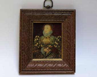 Reserved for G - Ornate carved wood picture frame with picture of Queen Elizabeth 1  - no glass