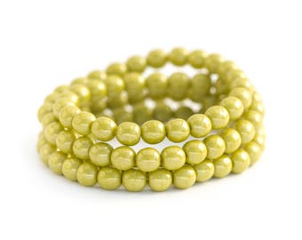 Opaque Green Avocado Spacer Beads, Smooth Round Pearlescent Luster Druks, Pressed Czech Glass, 4mm x 50pc (0012)
