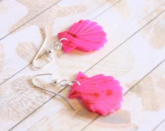 Pink Mermaid Shell Earrings, Fuchsia Pink, Nautical Earrings, Summer Earrings, Beach Earrings, Limited Edition, Ready to Ship