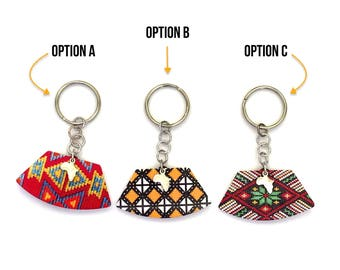 Patterned Keyring With Silver Africa Charm