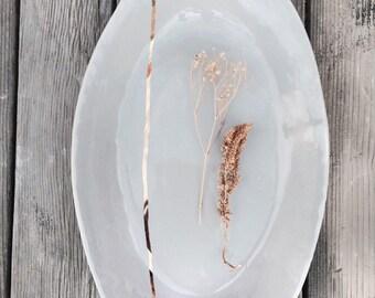 Wedding gift Oval handmade ceramic serving platter plate dish gray and 22k gold