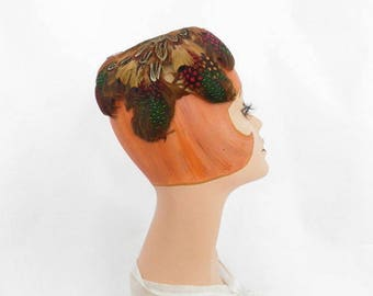 1960s feather hat, vintage 60s Pasadena halfhat