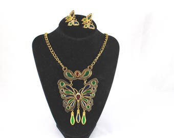 Butterfly Necklace Butterfly Earrings Set Gold Tone Enameled Large Gift For Women C268