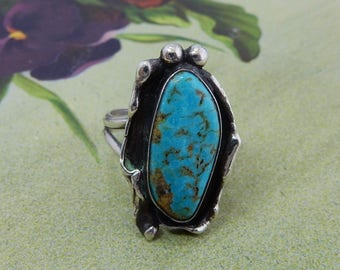 Artisan Made Nature Inspired Sterling Silver & Turquoise  Ring Sz 8.5    OBR18