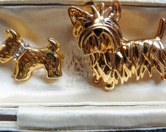 Two Vintage Dog Brooches Terrier Scottie Westie Puppies Dogs